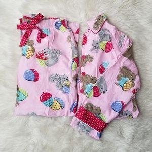 Nick & Nora - sz.M, pink flannel squirrel pajamas